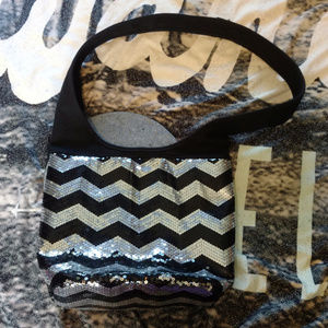Handbags - Black & Silver Chevron Sequin Hobo